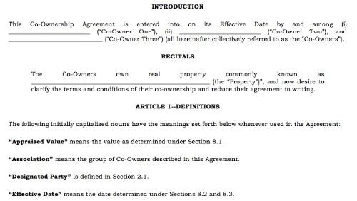 Property Ownership Forms : Sample property co ownership agreement for three or more