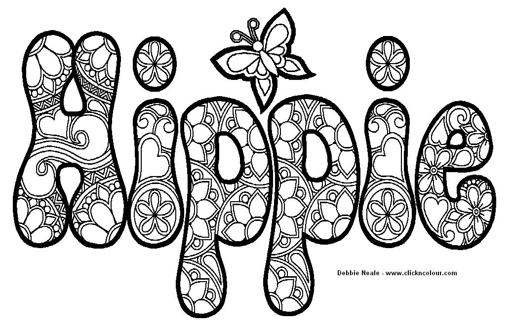 hippie coloring pages printable - hippie coloring design photos and images clip art