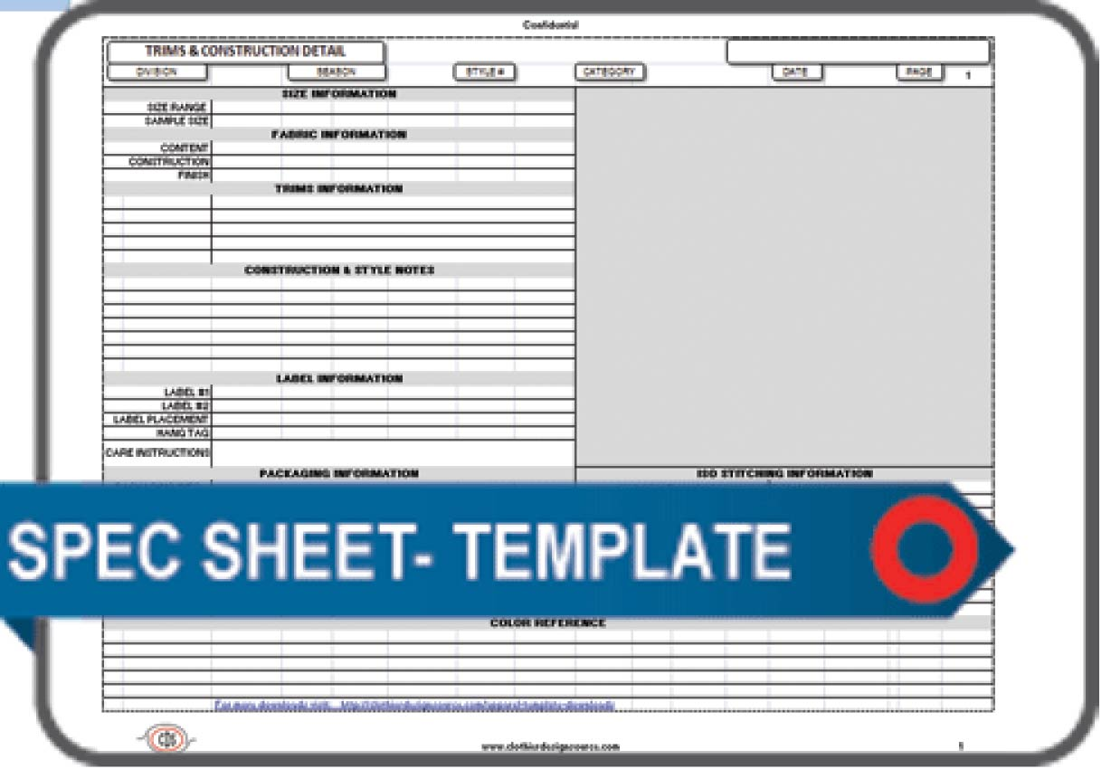 construction specifications template - apparel spec sheet template blank apparel spec sheet