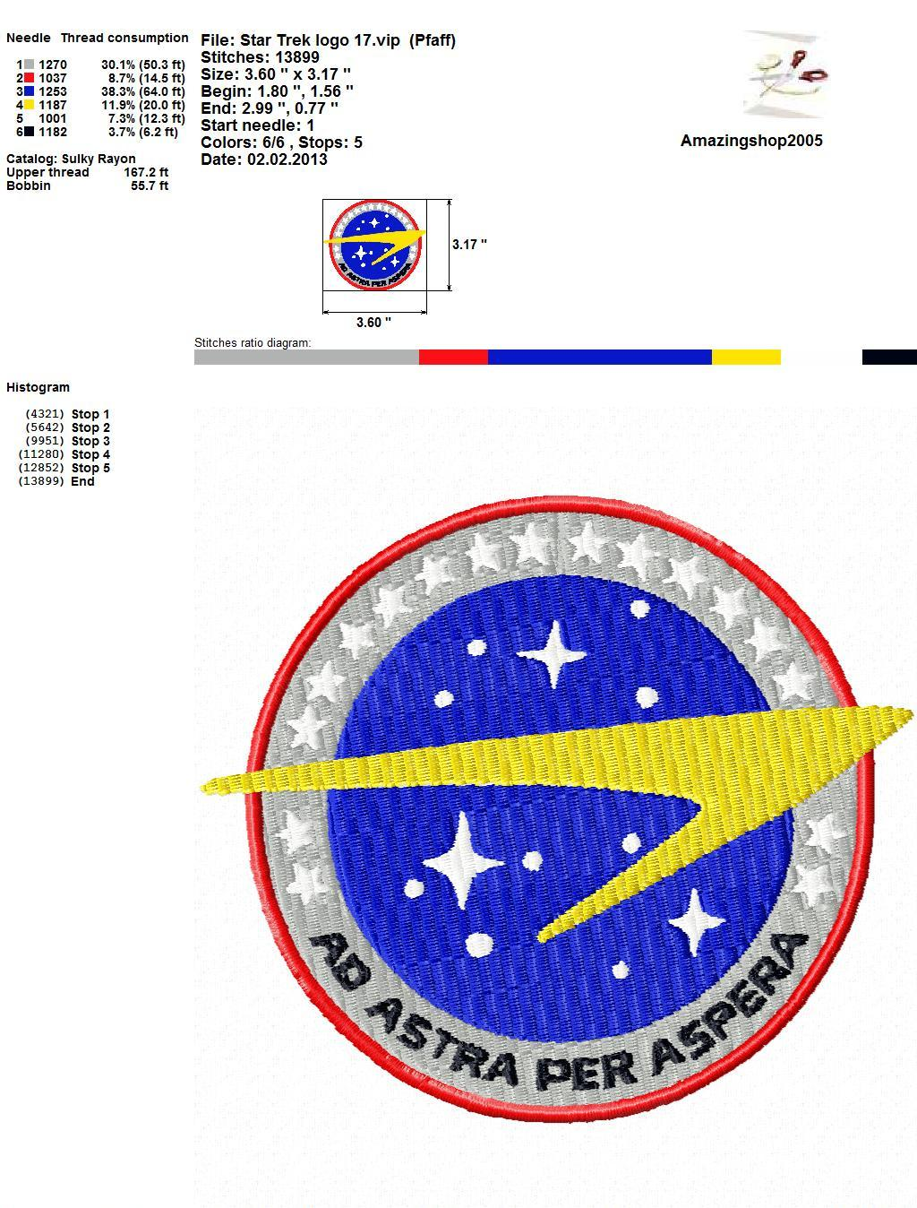 Star trek embroidery design crafting sewing other for Wohnung star trek design