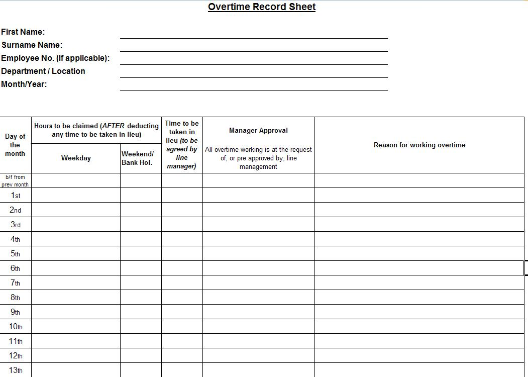 Overtime template software software templates for Overtime log template
