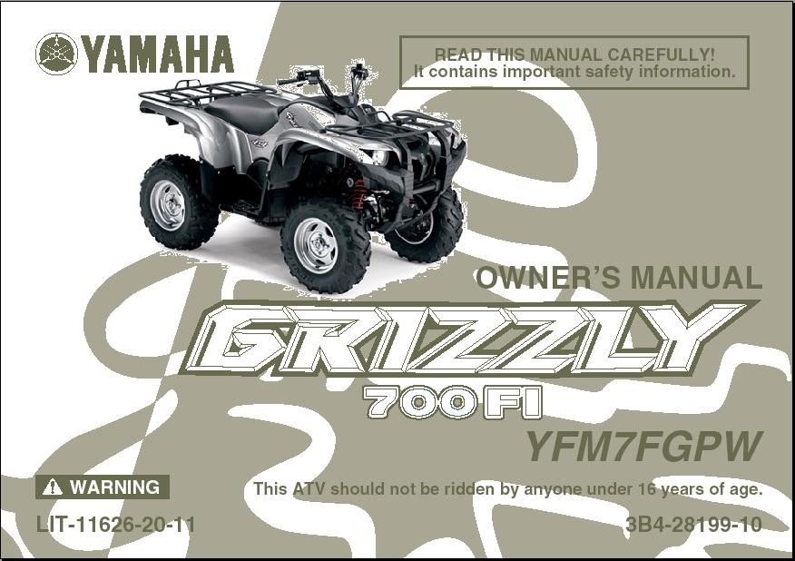 1998 2001 yamaha grizzly 600 owners manual 1998 1999. Black Bedroom Furniture Sets. Home Design Ideas