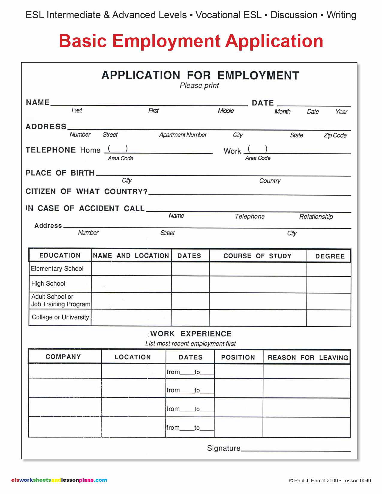 basic job application template