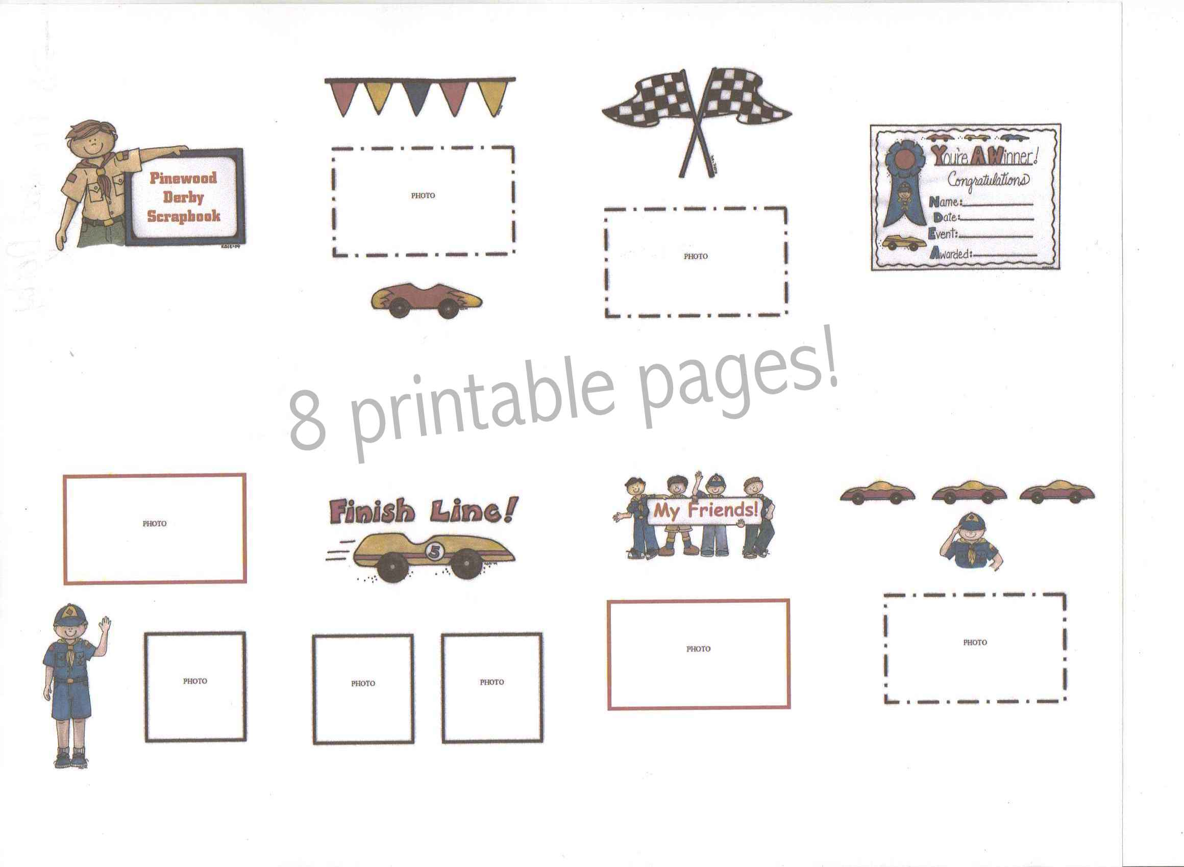 scout pinewood derby printable scrapbook boy cub scout pinewood derby