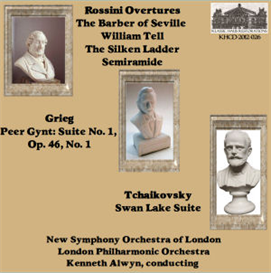 rossini overtures: the barber of seville/william tell/the silken ladder/semiramide - new symphony orchestra of london/kenneth alwyn; peer gynt suite no. 1; tchaikovsky: swan lake suite - london philharmonic orchestra/kenneth alwyn