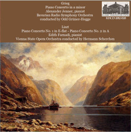 grieg: concerto in a minor - alexander jenner, pianist - bavarian radio symphony orchestra/odd grüner-hegge; liszt: concerto no. 1; concerto no. 2  - edith farnadi, pianist - vienna state opera orchestra/hermann scherchen