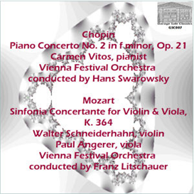 chopin: concerto no. 2 in f minor for piano and orchestra, op. 21 - carmen vitos, pianist - vienna festival orchestra/hans swarowsky; mozart: sinfonia concertante for violin and viola, k. 364 - walter schneiderhahn, violin; paul angerer, viola; vienna festival orchestra/franz litschauer