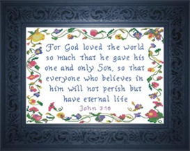 Everyone Who Believes - John 3:16 | Crafting | Cross-Stitch | Religious
