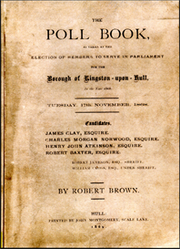 the poll book as taken at the election of members to serve in parliament for the borough of kingston-upon-hull in the year 1868.