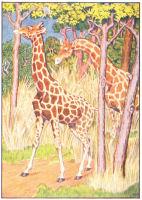 giraffe print from 1906 child's animal book