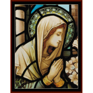 stained glass mary - religious cross stitch pattern by cross stitch collectibles
