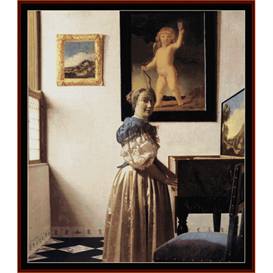 lady standing at virginal - vermeer cross stitch pattern by cross stitch collectibles
