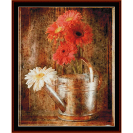 gerbera daisies in watering can - floral cross stitch pattern by cross stitch collectibles