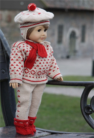 dollknittingpattern - 0073d oleana - sweater, pant, scarf, hat and socks