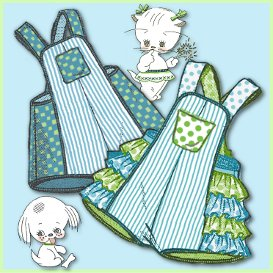 sweet ruffled toddler kitty romper & matching brother sunsuit 1940s vintage pattern