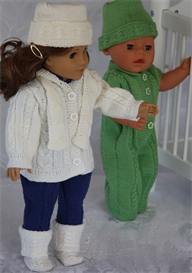 dollknittingpatterns - 0074d simone - jacket with a hodd, blue suit, green suit, cap, scarf, white socks / shoes,shoe with an anklestrip