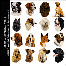 robt. j. may dogs vol 1 cross stitch collection - 16 cross stitch pattern by cross stitch collectibles