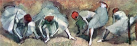 image photo dancers lace their shoes degas