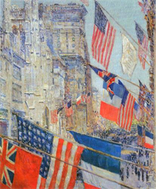 image photo day of allied victory, 1917 hassam impressionism american
