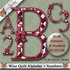 wine quilt png alphabet & numbers