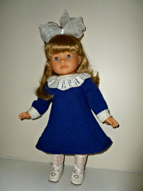 doll knitting pattern - d001 - daisy - blue & white dress