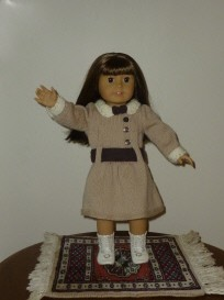 doll knitting pattern - d002 - daisy - tan & brown dress