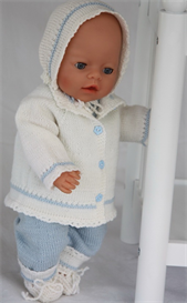 dollknittingpatterns - 0077d nikoline - sweater, lovely pant for baby, bonnet and socks
