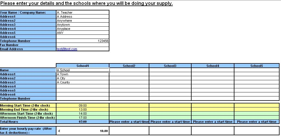 Teacher Resource Supply Teacher TimeSheet And Invoice Generator - Hourly invoice generator