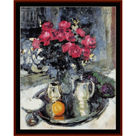 roses and violets - korovin cross stitch pattern by cross stitch collectibles