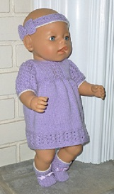 Doll Knitting Pattern - A001 - Mauve Springtime Outfit | Crafting | Sewing | Dolls and Toys