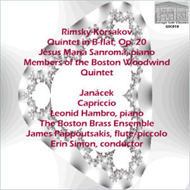rimsky-korsakov: quintet in b-flat, op. 20 - jésus maria sanromá, piano;  members of the boston woodwind quintet - janácek: capriccio - leonid hambro, piano; the boston brass ensemble/james pappoutsakis, flute/piccolo/erin simon, conductor