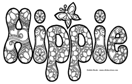 hippie coloring design