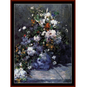 spring bouquet - renoir cross stitch pattern by cross stitch collectibles