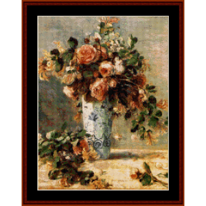 roses and jasmine - renoir cross stitch pattern by cross stitch collectibles
