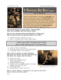 IT HAPPENED ONE NIGHT, Whole-Movie English (ESL) Lesson | eBooks | Education