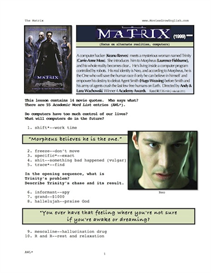 the matrix, whole-movie english (esl) lesson