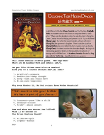 CROUCHING TIGER HIDDEN DRAGON, Whole-Movie English (ESL) Lesson | eBooks | Education