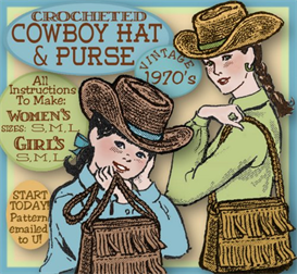 Weatern Cowboy Hat & Bag CROCHET vintage pattern SML in both Women & Girls Sizes | Crafting | Sewing | Other