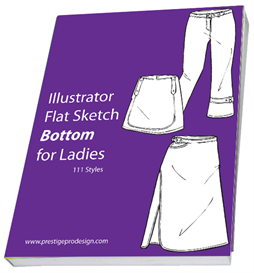 111 styles illustrator flat sketch bottom for ladies