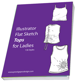 136 styles illustrator flat sketch top for ladies