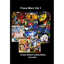franz marc vol 1 dvd collection - 10 cross stitch pattern by cross stitch collectibles