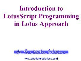 LotusScript Programming for Lotus Approach | Software | Training