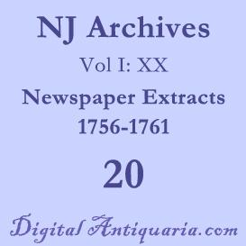 NJ Archives (I:XX) Newspaper Extracts 1756-1761 (1898) | Audio Books | History