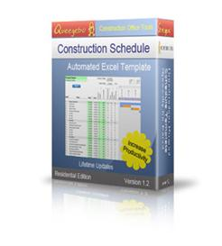 construction schedule template - residential, excel workbook template