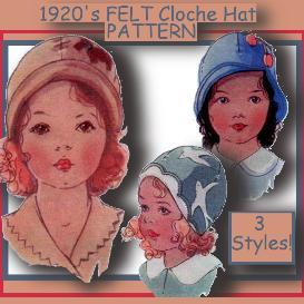 toddler's 1920's felt cloche hat -3 styles!