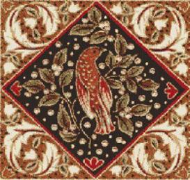 morris bird cross stitch pattern