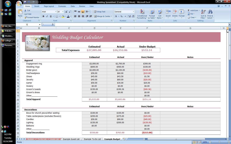 wedding planning excel sheet