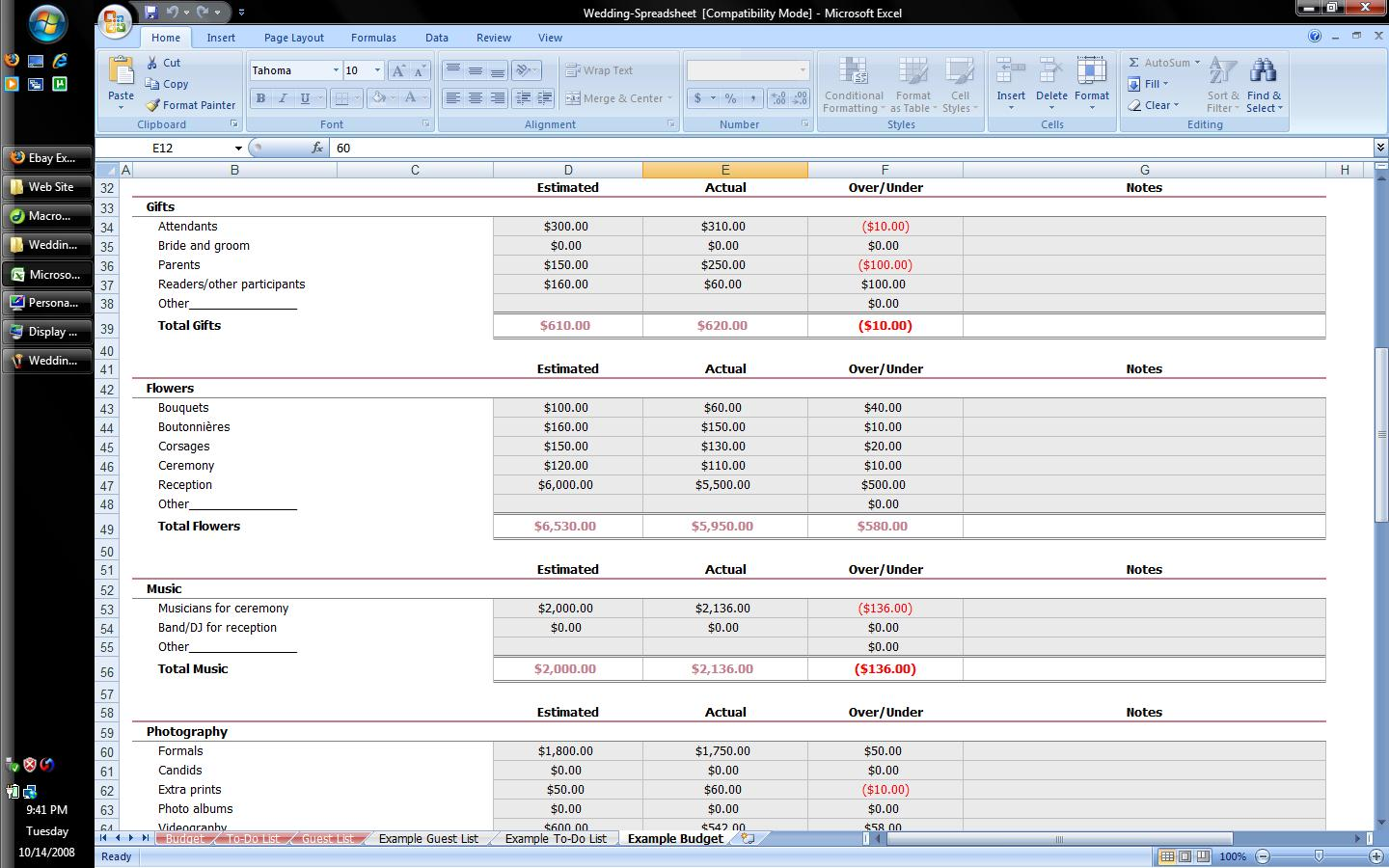 First Additional product image for - Wedding Planner Excel Spreadsheet