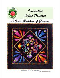 a celtic rainbow of flowers applique pattern