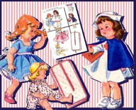 nurse ginny ~1956 pattern~5 outfits & bag ~